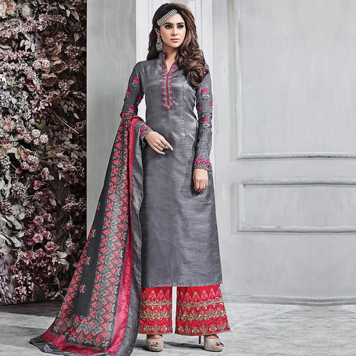 Lovely Grey Colored Party Wear Embroidered Banarasi Silk Palazzo Suit