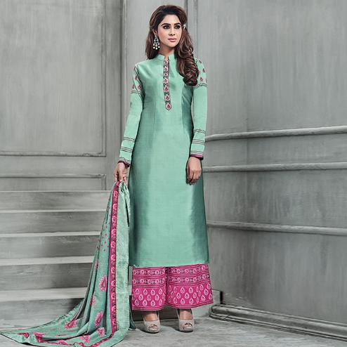 Pretty Aqua Green Colored Party Wear Embroidered Banarasi Silk Palazzo Suit