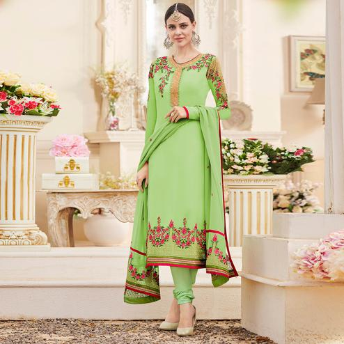 Charming Parrot Green Colored Party Wear Embroidered Georgette Suit