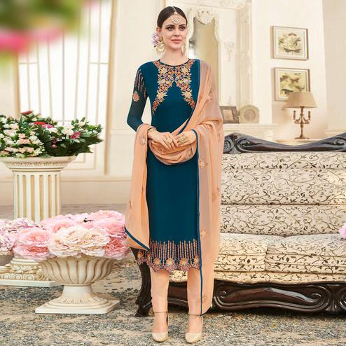Ravishing Stone Blue Colored Party Wear Embroidered Georgette Suit