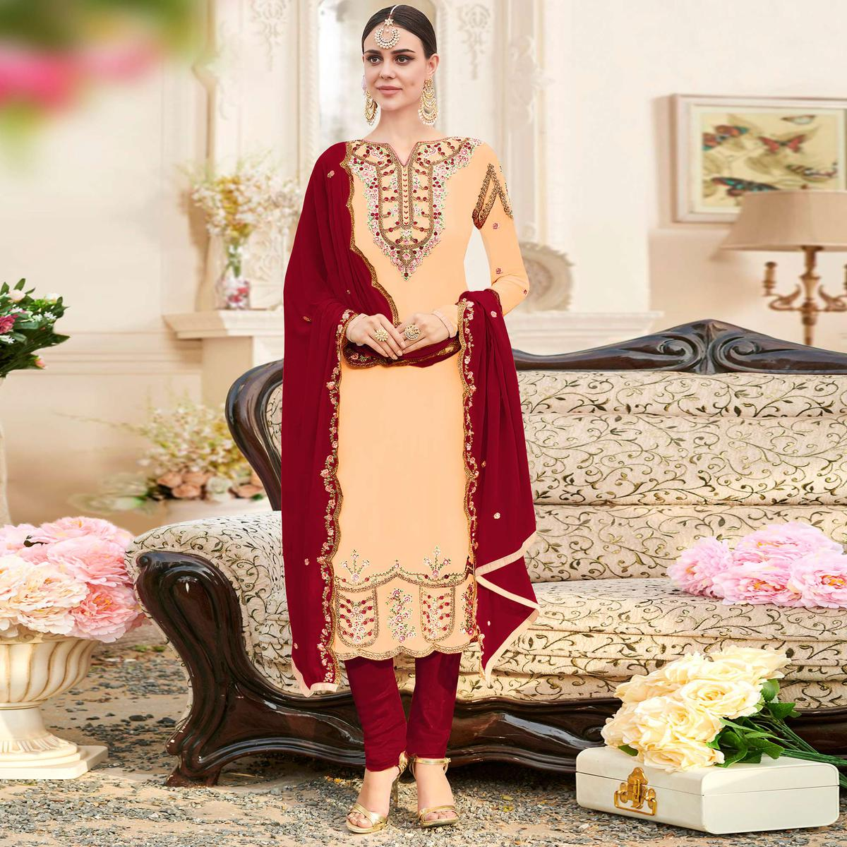 Stunning Beige Colored Party Wear Embroidered Georgette Suit
