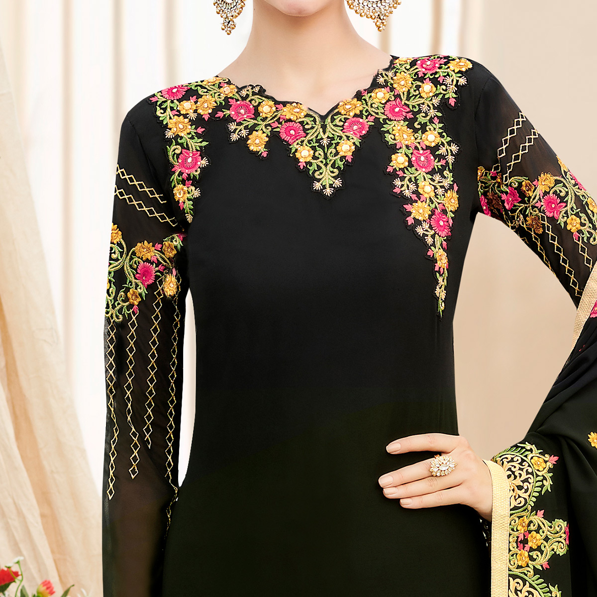Blooming Black Colored Party Wear Embroidered Georgette Suit