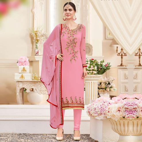 Marvellous Light Pink Colored Party Wear Embroidered Georgette Suit