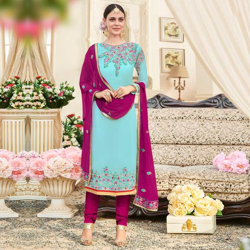 Mesmerising Light Sky Blue Colored Party Wear Embroidered Georgette Suit