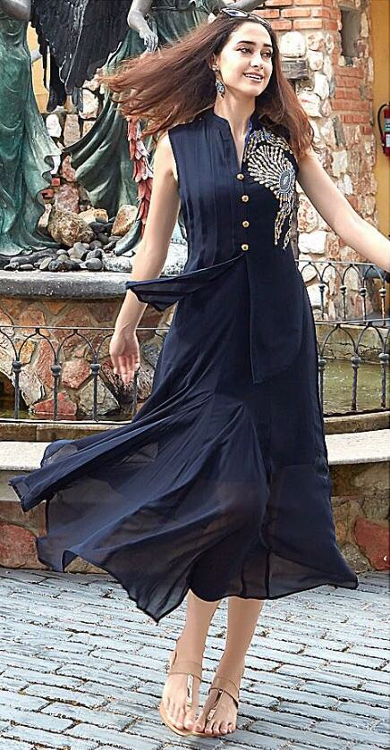 Dashing Navy Designer Embroidered Georgette Kurti