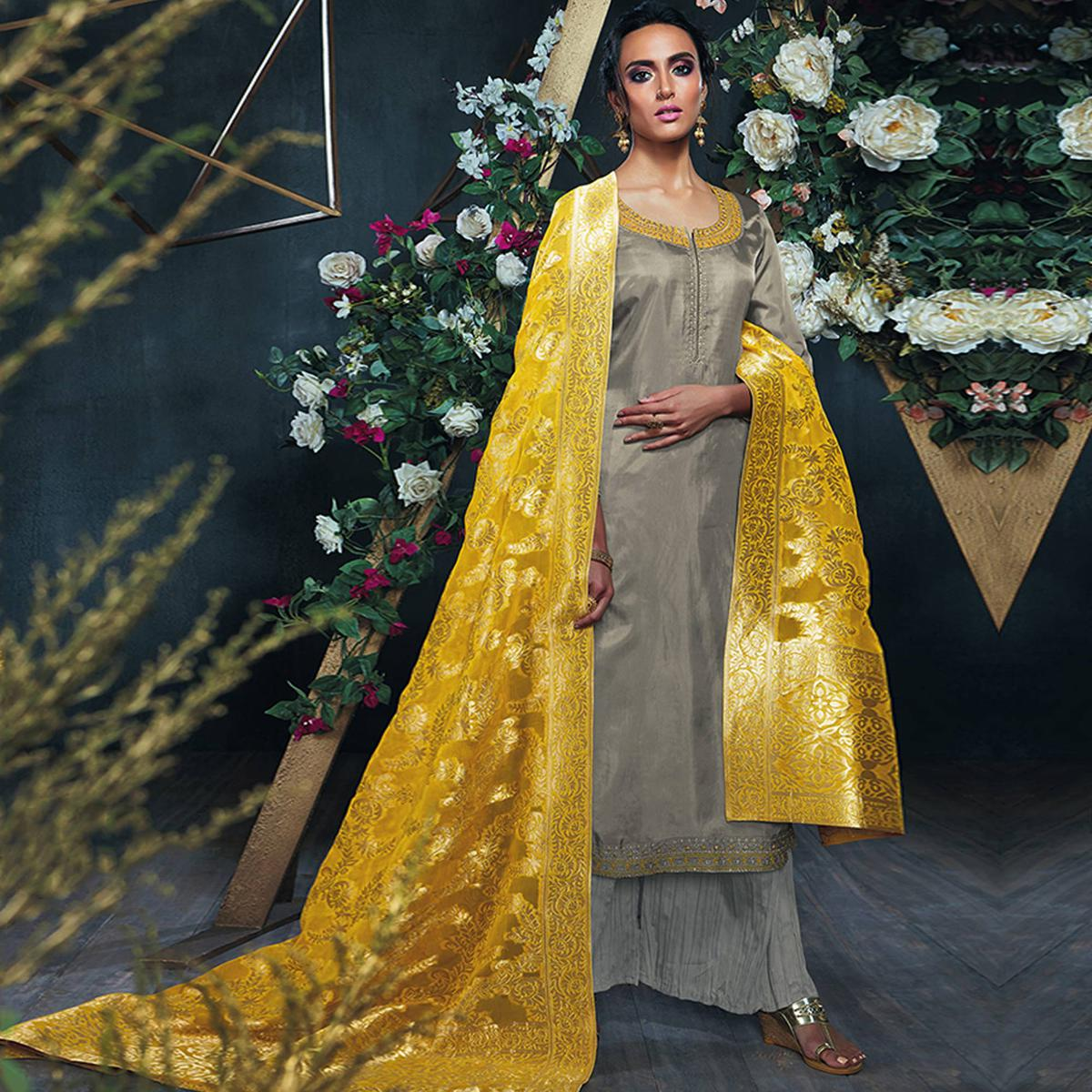Ravishing Grey Colored Party Wear Silk Palazzo Suit