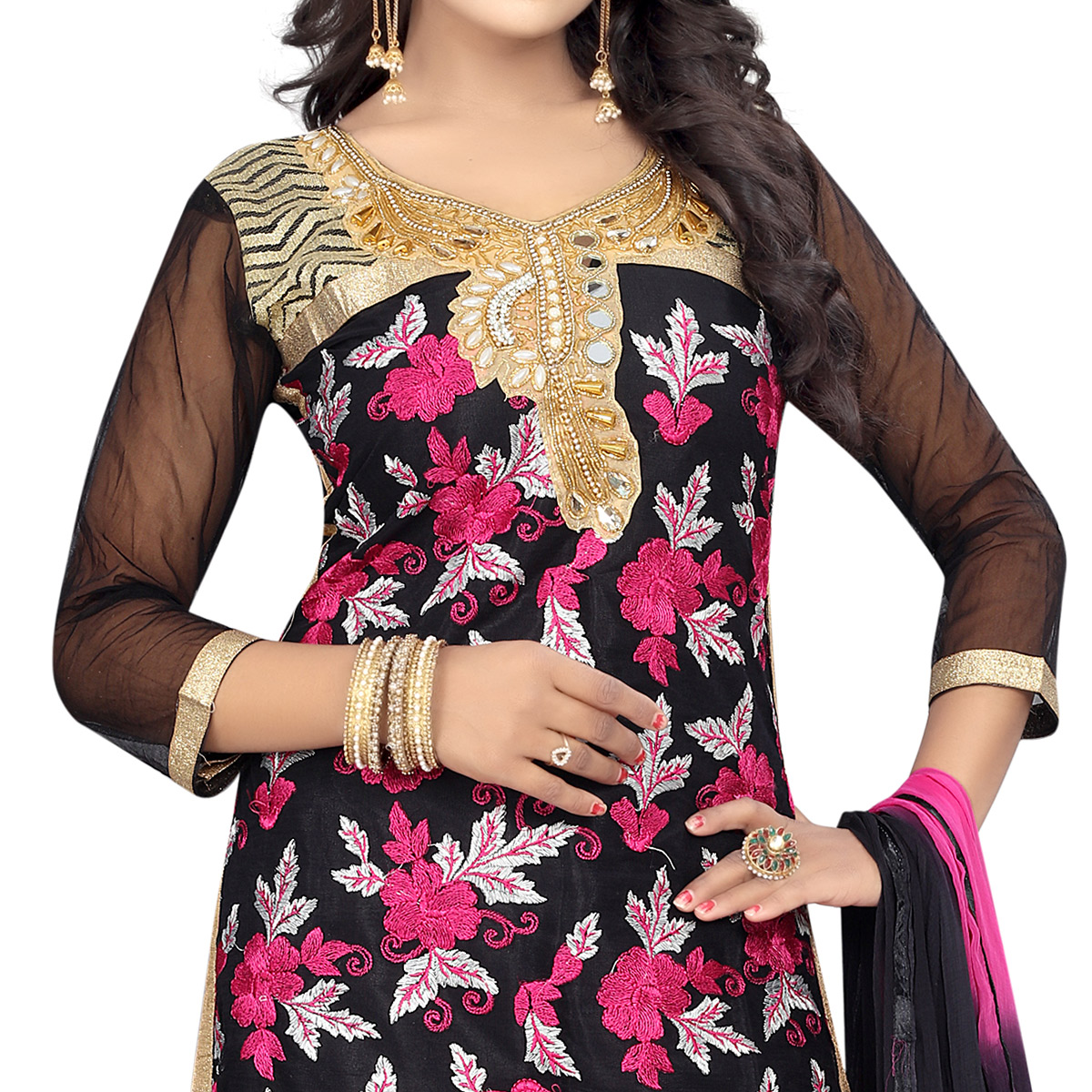 Intricate Black Colored Party Wear Embroidered Net Salwar Suit