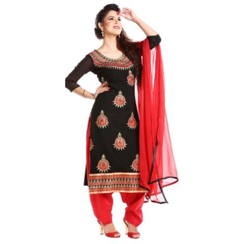 Demanding Black Colored Party Wear Embroidered Georgette Salwar Suit