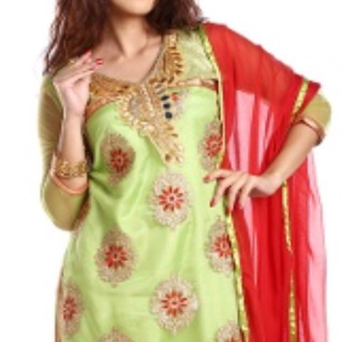 Unique Green Colored Party Wear Embroidered Net Salwar Suit