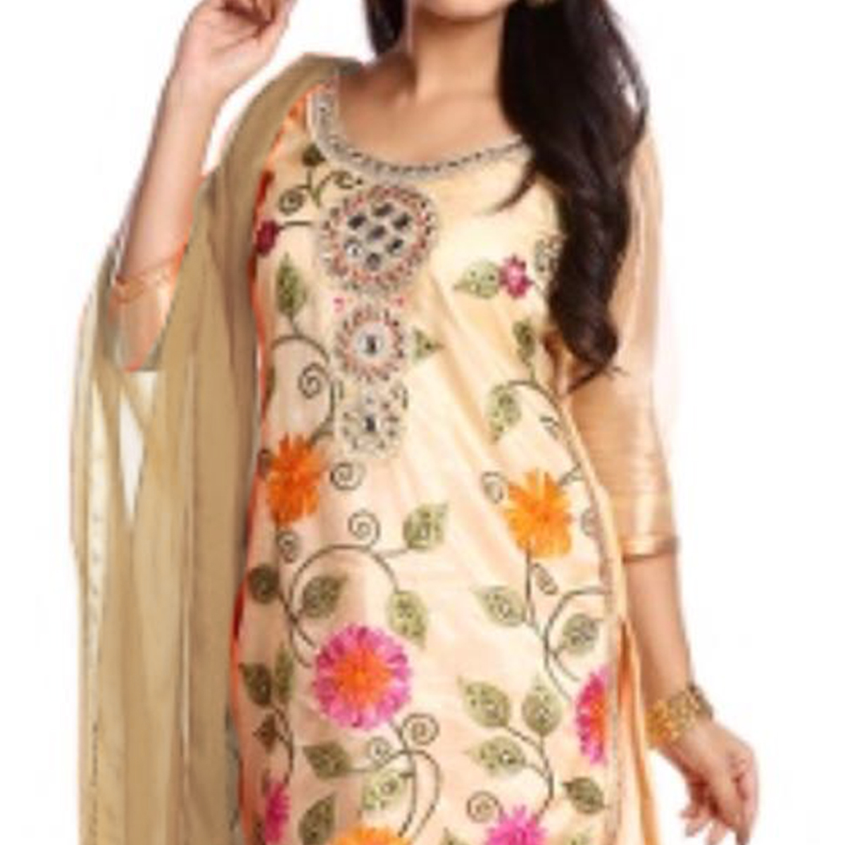 Elegant Beige Colored Party Wear Embroidered Net Salwar Suit