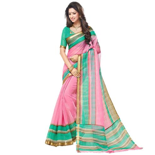 Gorgeous Pink Festive Wear Malgudi silk Saree