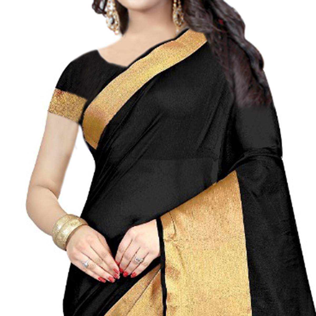 Amazing Black Colored Festive Wear Cotton Silk Saree