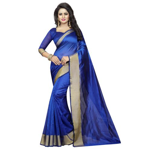 Exotic Royal Blue Colored Festive Wear Cotton Silk Saree