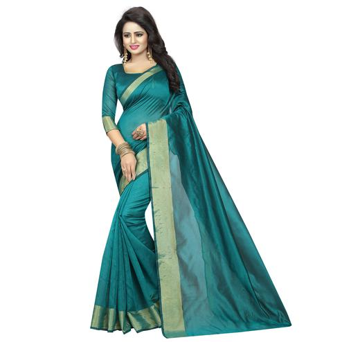 Majesty Teal Green Colored Festive Wear Cotton Silk Saree