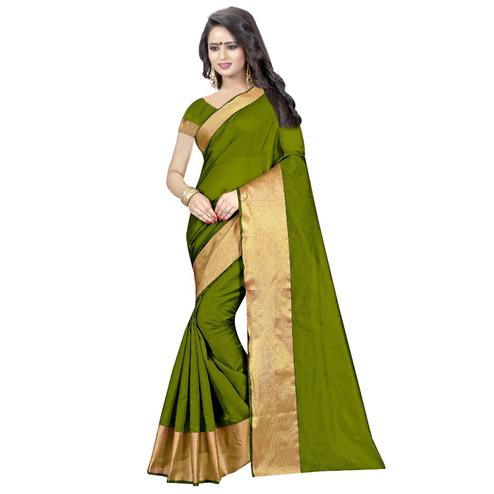 Preferable Green Colored Festive Wear Cotton Silk Saree