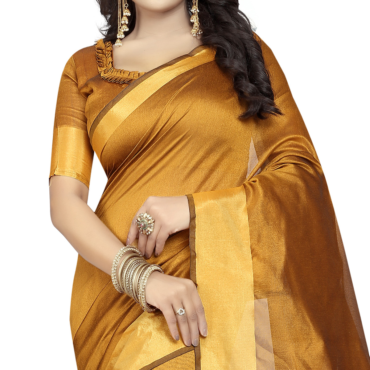 Attractive Mustard Yellow Colored Festive Wear Cotton Silk Saree