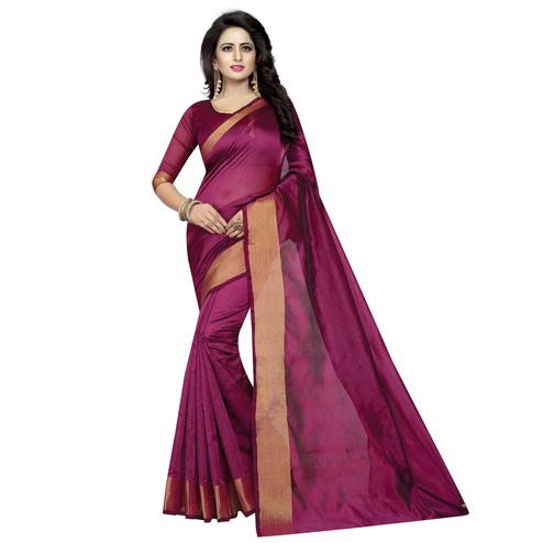 Surpassing Wine Colored Festive Wear Cotton Silk Saree