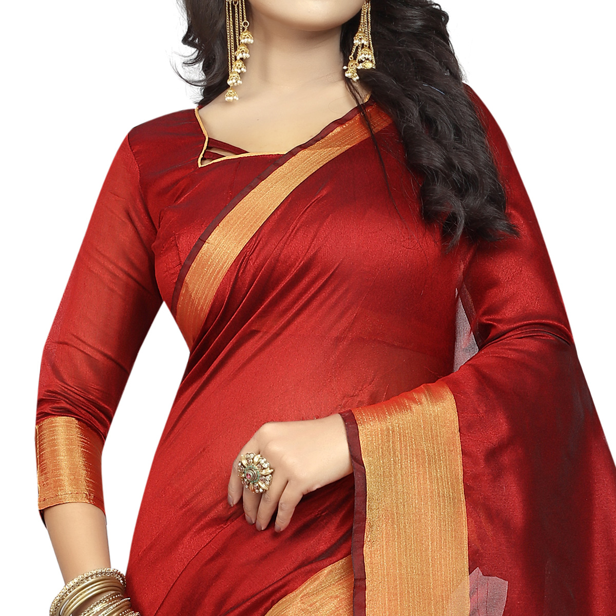 Entrancing Red Colored Festive Wear Cotton Silk Saree