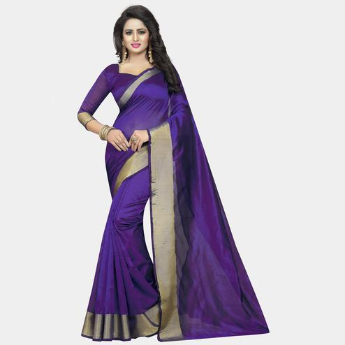 Imposing Purple Colored Festive Wear Cotton Silk Saree