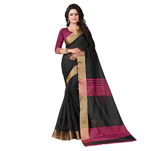 Stunning Black Festive Wear Jacquard Saree