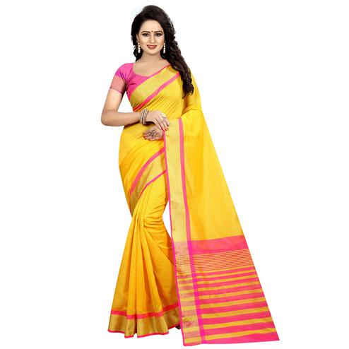 Ideal Yellow Colored Festive Wear Cotton Silk Saree