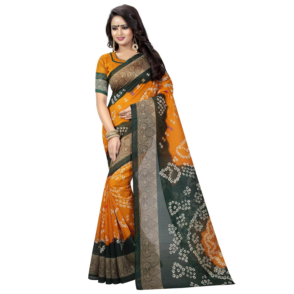 07f65f7272 Buy Marvellous Mustard Yellow Colored Casual Wear Printed Bhagalpuri Silk  Saree for womens online India, Best Prices, Reviews - Peachmode