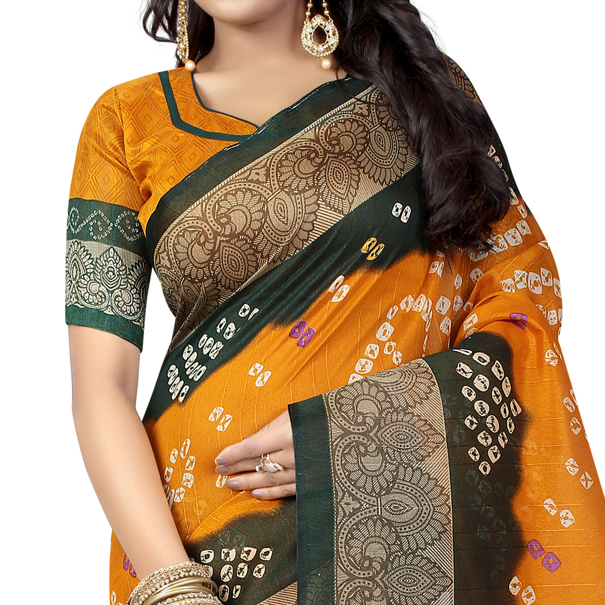 Marvellous Mustard Yellow Colored Casual Wear Printed Bhagalpuri Silk Saree