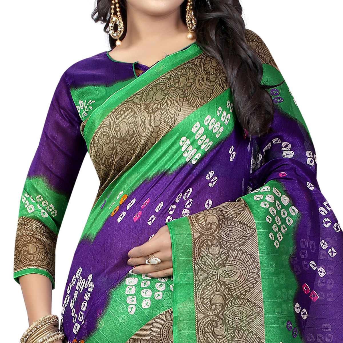 Mesmerising Purple Colored Casual Wear Printed Bhagalpuri Silk Saree