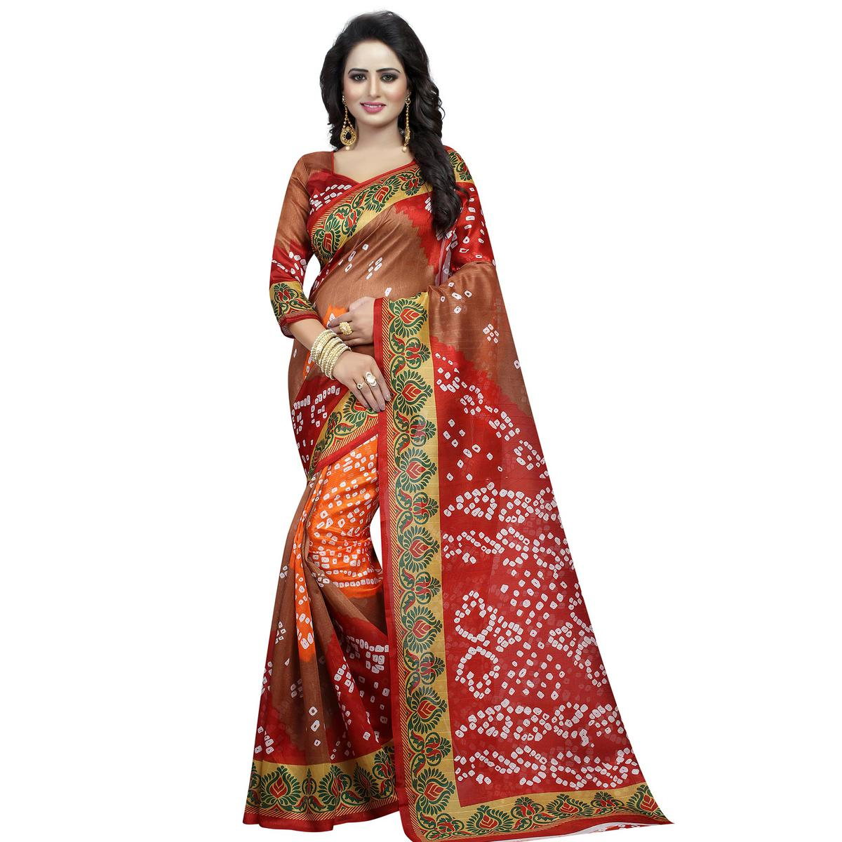 Ravishing Brown - Red Colored Casual Wear Printed Bhagalpuri Silk Saree