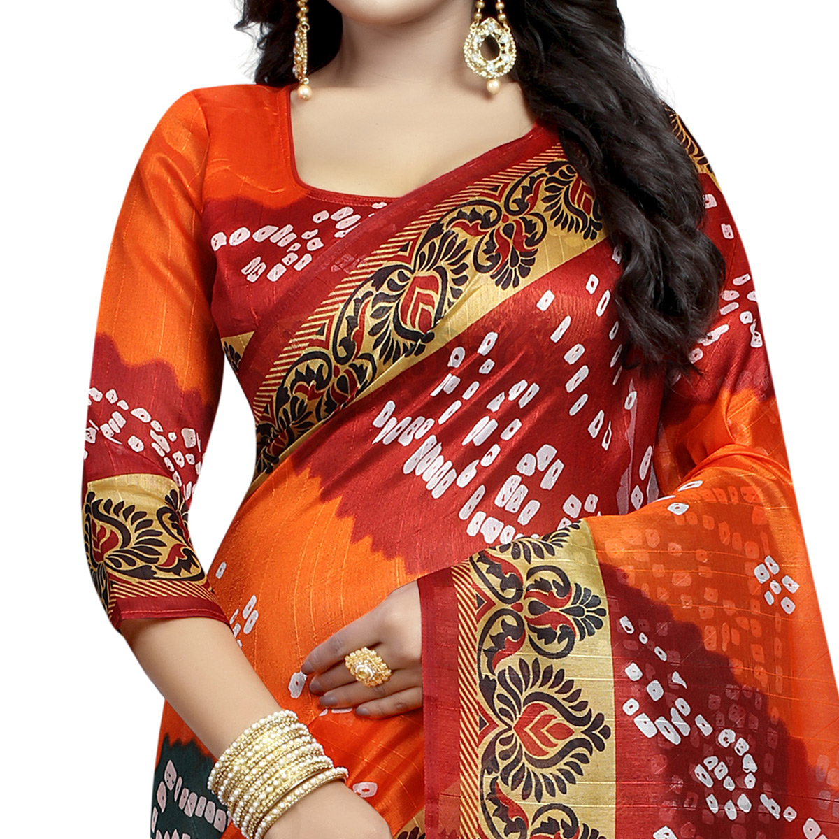 Eye-catching Orange - Maroon Colored Casual Wear Printed Bhagalpuri Silk Saree