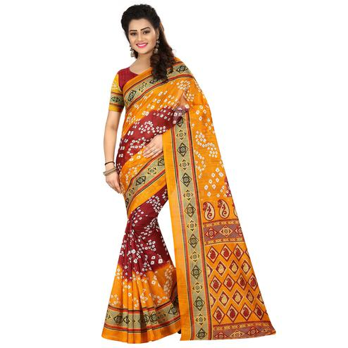 Amazing Yellow - Maroon Colored Casual Wear Printed Bhagalpuri Silk Saree