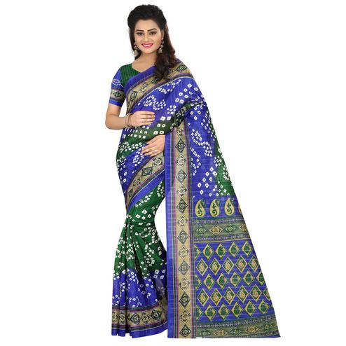 Exotic Green - Blue Colored Casual Wear Printed Bhagalpuri Silk Saree