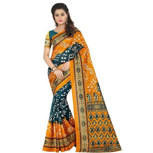 Majesty Yellow - Blue Colored Casual Wear Printed Bhagalpuri Silk Saree