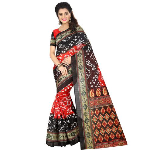 Preferable Red - Black Colored Casual Wear Printed Bhagalpuri Silk Saree