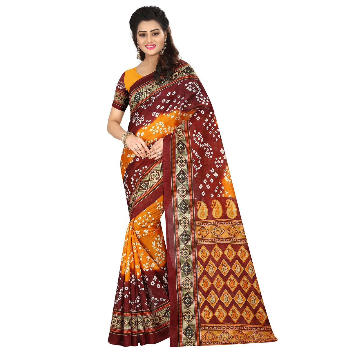 Attractive Maroon - yellow Colored Casual Wear Printed Bhagalpuri Silk Saree