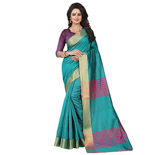 Lovely Rama Green Festive Wear Jacquard Saree