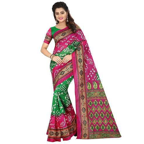 Surpassing Green - Pink Colored Casual Wear Printed Bhagalpuri Silk Saree