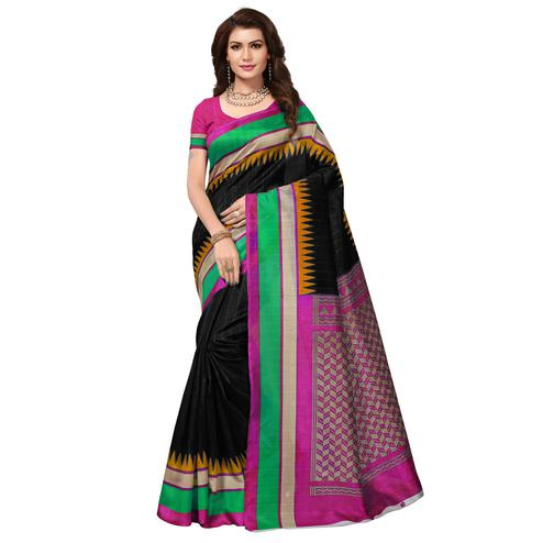 Entrancing Black Colored Casual Wear Printed Bhagalpuri Silk Saree