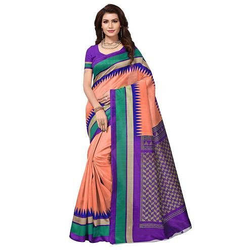 Imposing Peach Colored Casual Wear Printed Bhagalpuri Silk Saree