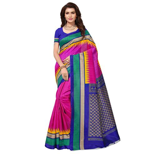 Blissful Rani Pink Colored Casual Wear Printed Bhagalpuri Silk Saree