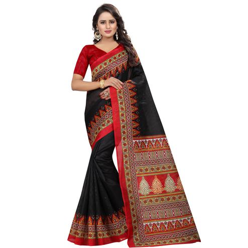 Ideal Black Colored Casual Wear Printed Bhagalpuri Silk Saree