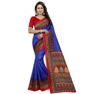Engrossing Blue Colored Casual Wear Printed Bhagalpuri Silk Saree