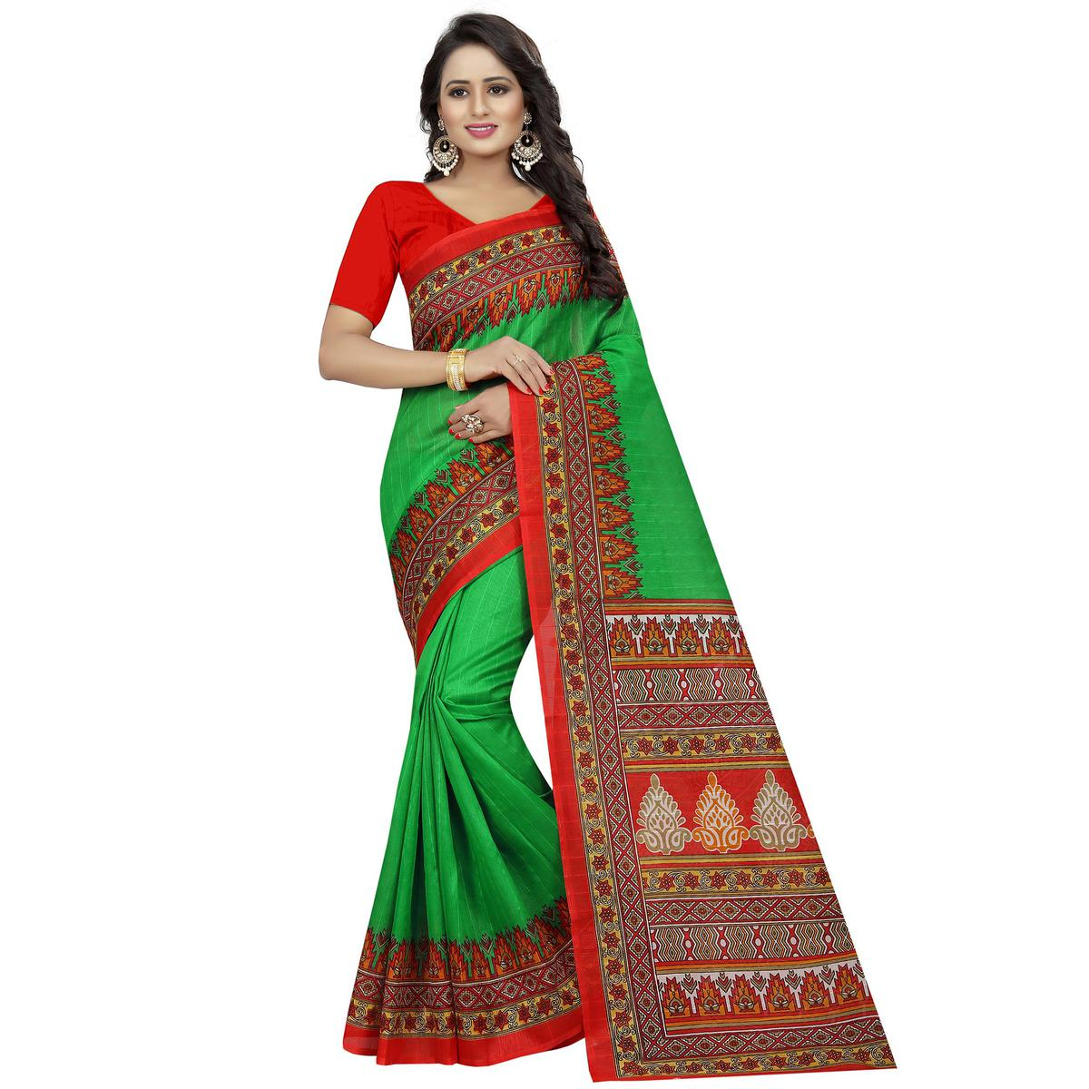 Fantastic Green Colored Casual Wear Printed Bhagalpuri Silk Saree