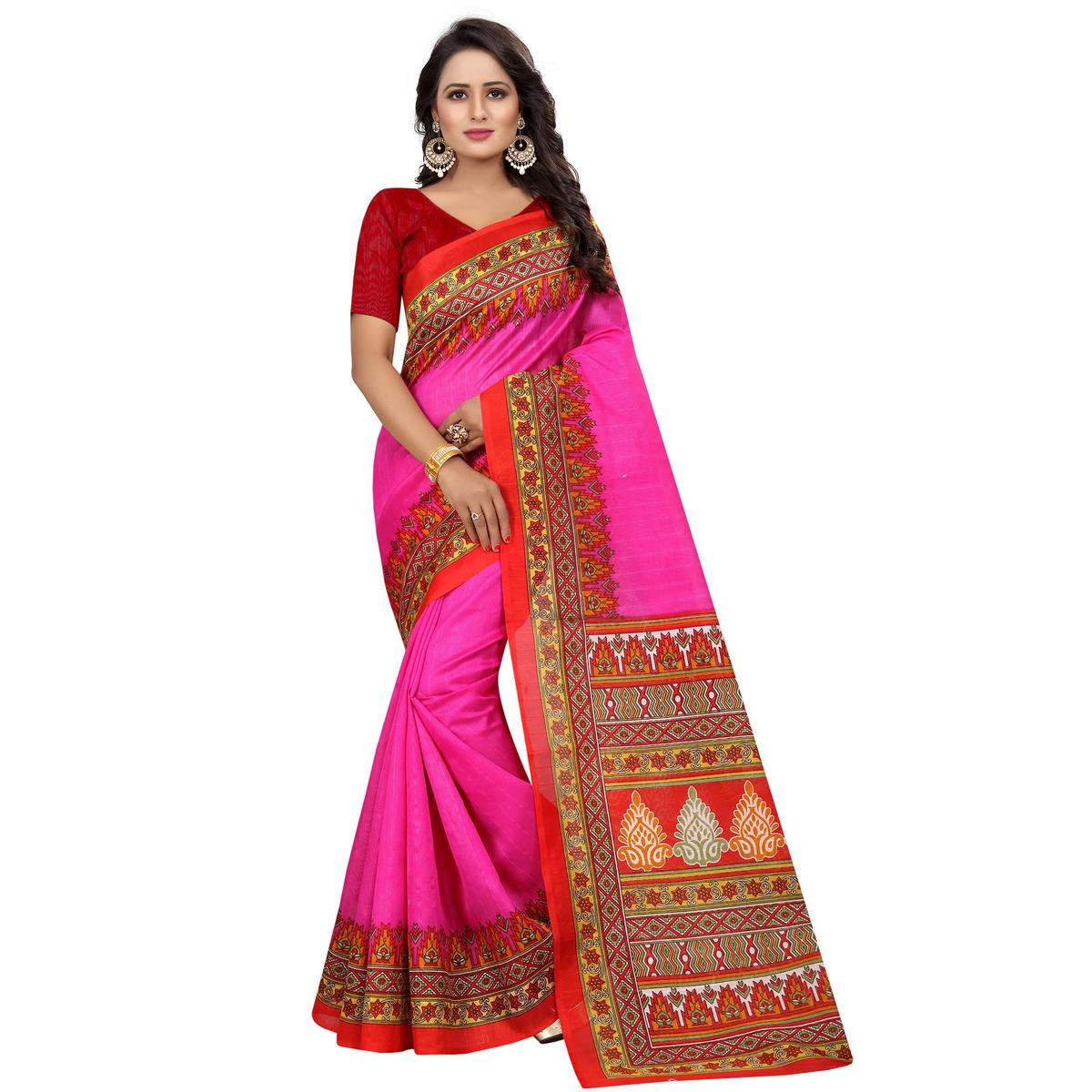 Staring Pink Colored Casual Wear Printed Bhagalpuri Silk Saree