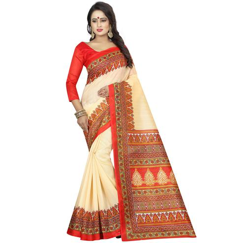Pleasance Off White Colored Casual Wear Printed Bhagalpuri Silk Saree