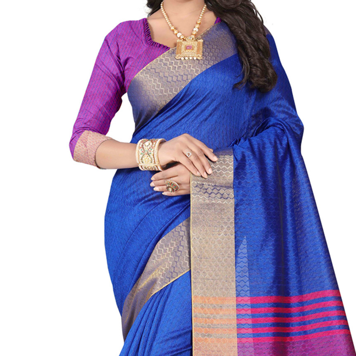 Charming Blue Festive Wear Jacquard Saree