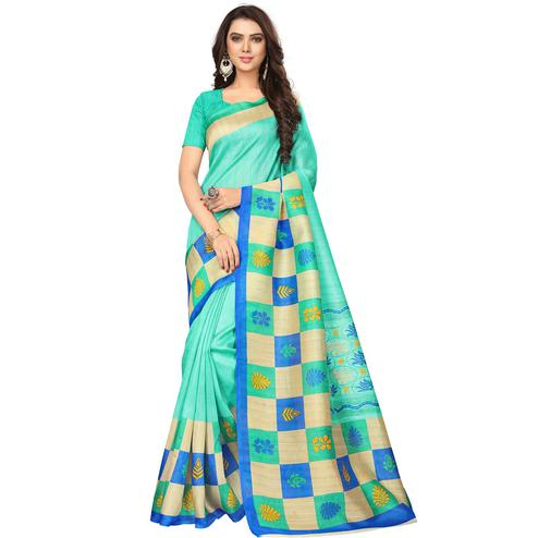 Desirable Firozi Colored Casual Wear Printed Bhagalpuri Silk Saree