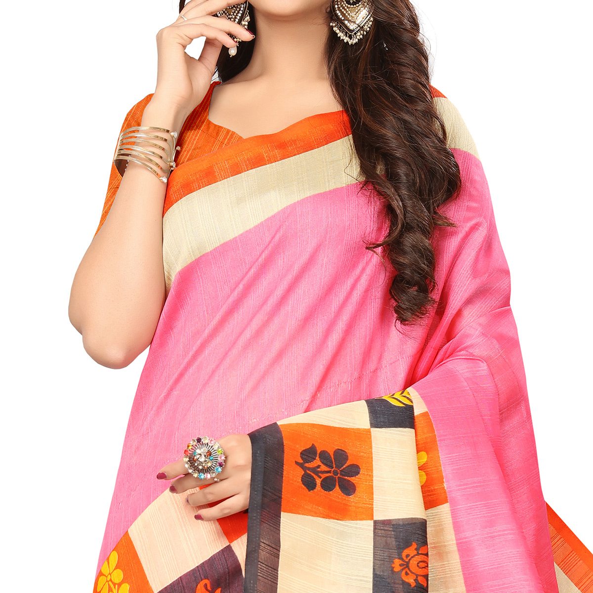 Sophisticated Pink Colored Casual Wear Printed Bhagalpuri Silk Saree