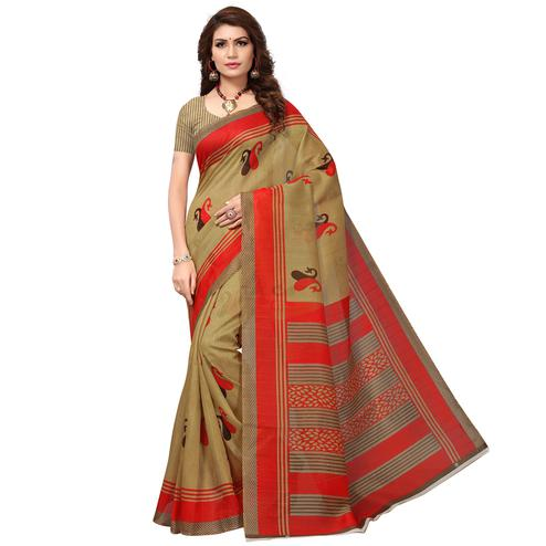 Demanding Beige - Red Colored Casual Wear Printed Bhagalpuri Silk Saree