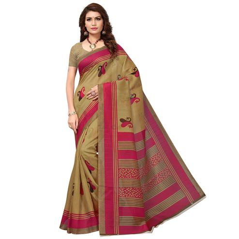 Pleasant Beige - Pink Colored Casual Wear Printed Bhagalpuri Silk Saree